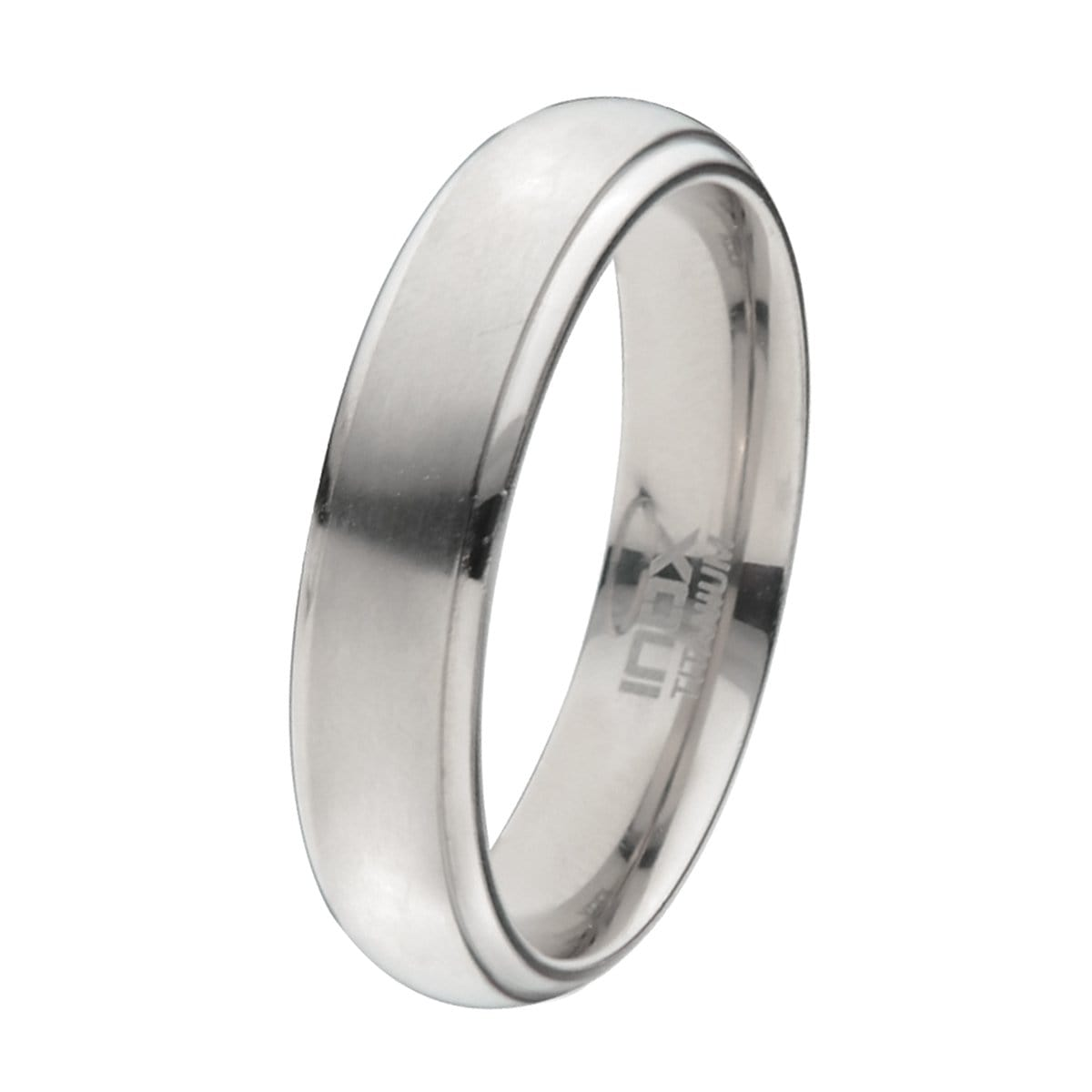 Silver Titanium 5 mm Matt and Polished Edge Band Rings