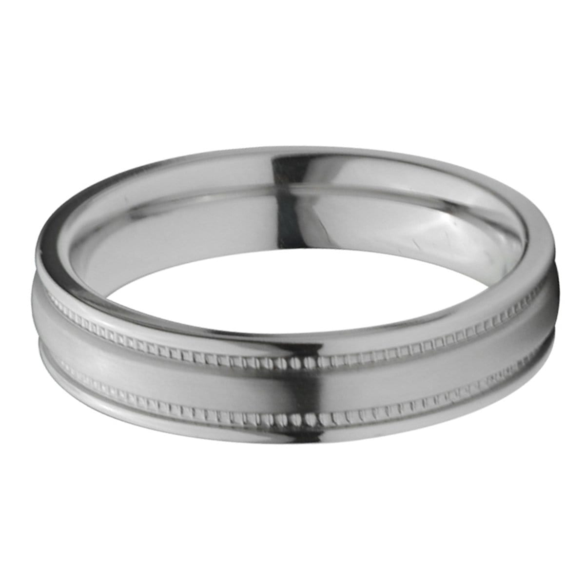 Silver Titanium 5mm Fancy Groove Border Band Rings