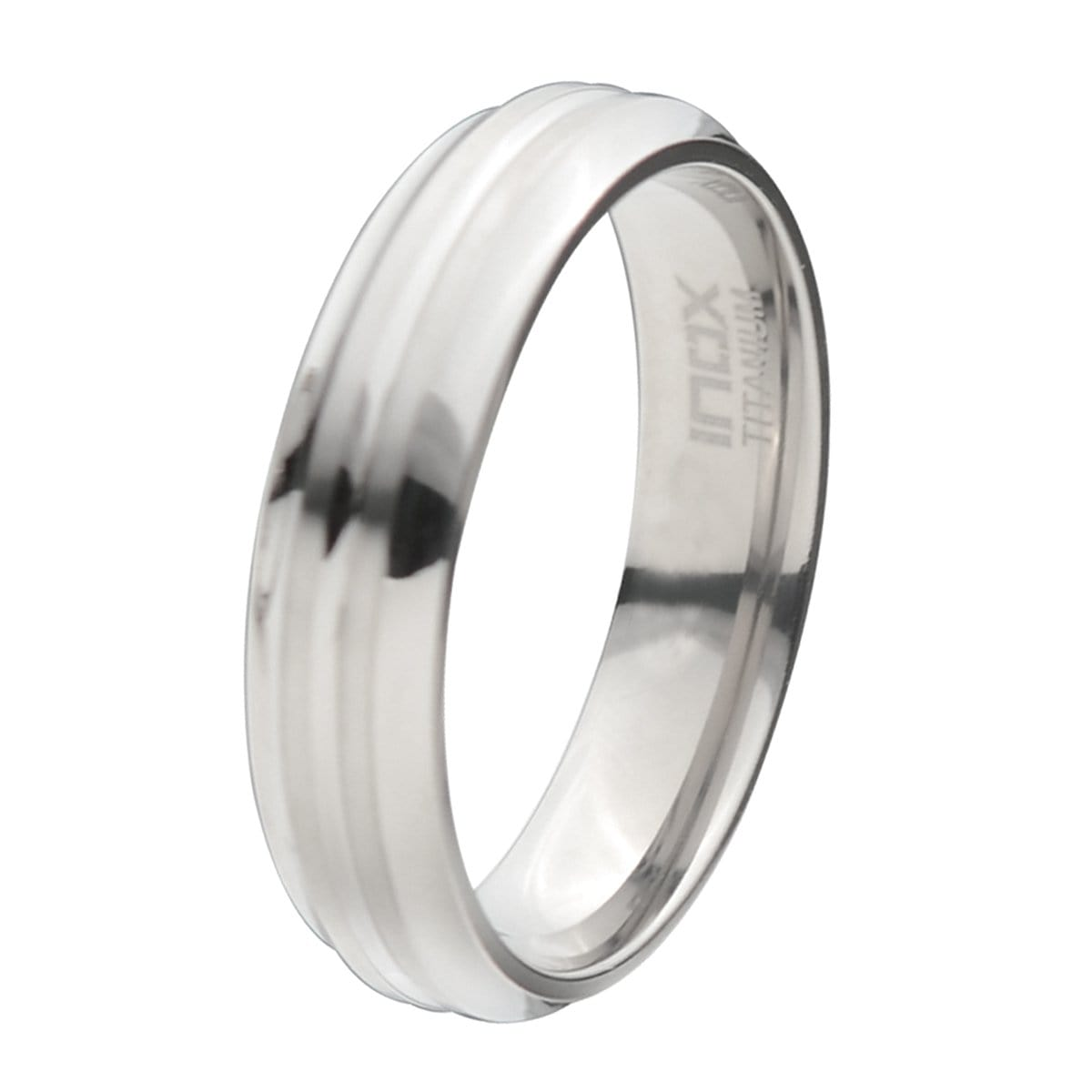 Silver Titanium 6mm Deep Groove Pattern Classic Band Rings
