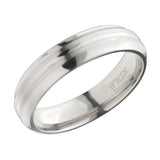 Silver Titanium 6mm Deep Groove Pattern Classic Band Ring