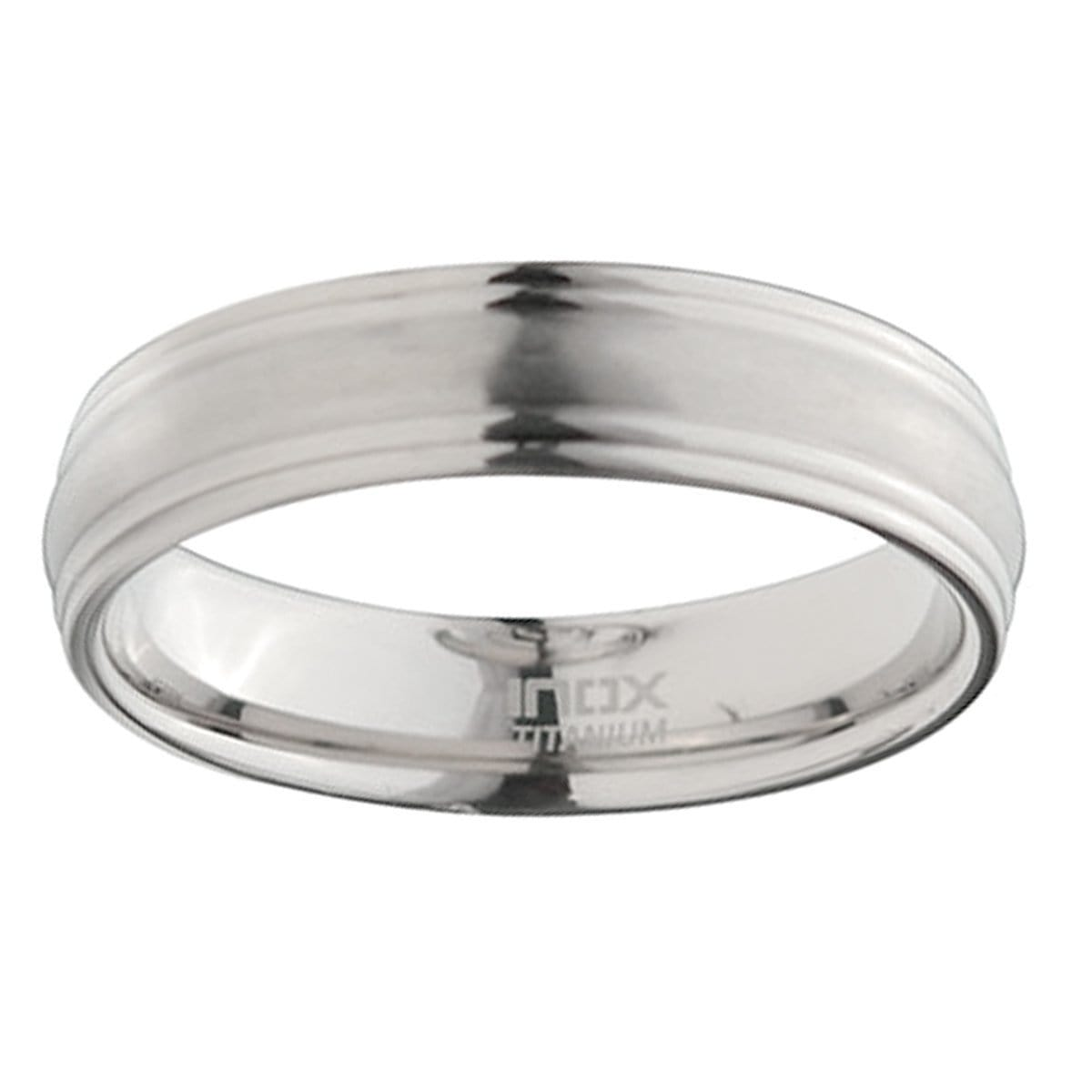 Silver Titanium 6mm Matt and Polished Groove Edge Band Rings