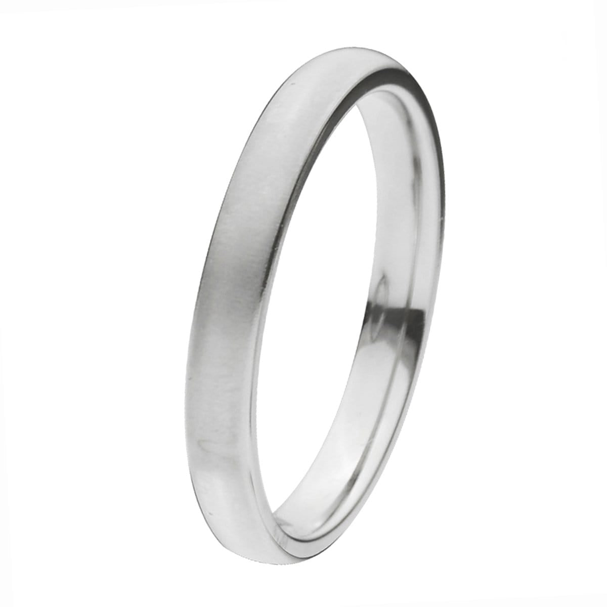 Silver Titanium Classic 3mm Matte Band Ring Rings