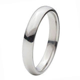 Silver Titanium Polished Finish Plain 4mm Band Ring