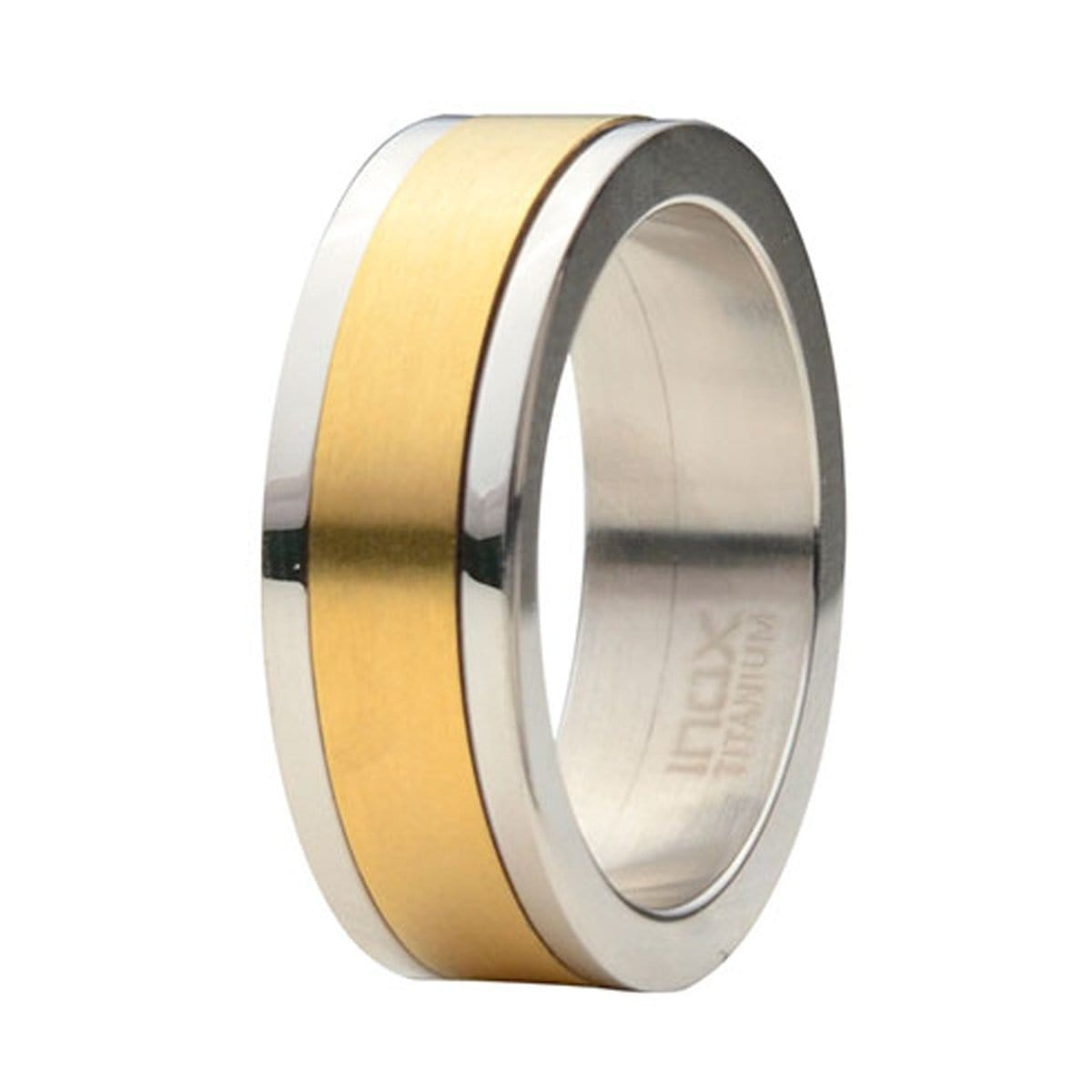 Silver Titanium Ring with Gold Spinner in the middle Rings