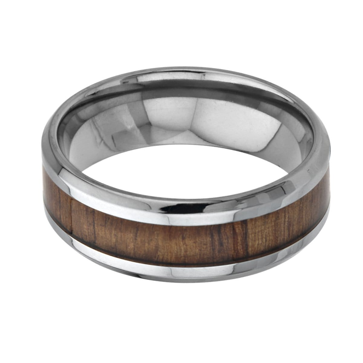 Silver Titanium with Inlaid Koa Wood Band Rings
