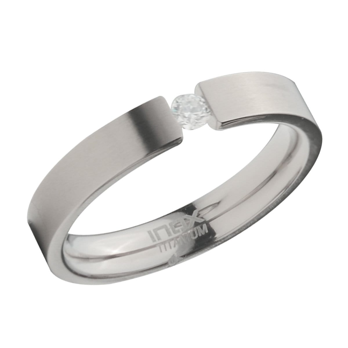 Silver Titanium with Single Cubic Zirconia Band Ring