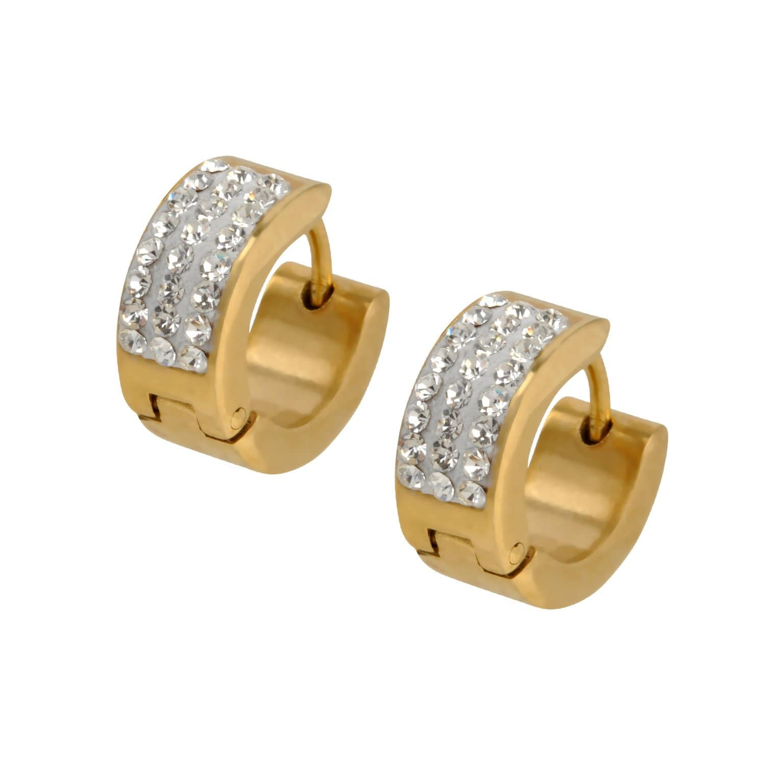 Gold Stainless Steel Triple Line White CZ Huggies Earrings