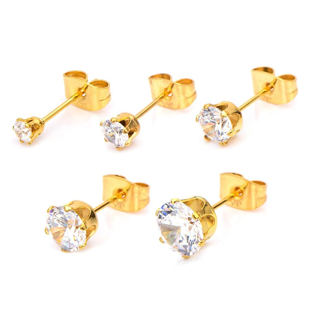 Gold Stainless Steel Six Prong White CZ Solitaire Studs Earrings