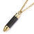 Gold Stainless Steel with Black Carbon Graphite Bullet Pendant
