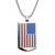 Silver Stainless Steel American Flag ID Tag Pendant