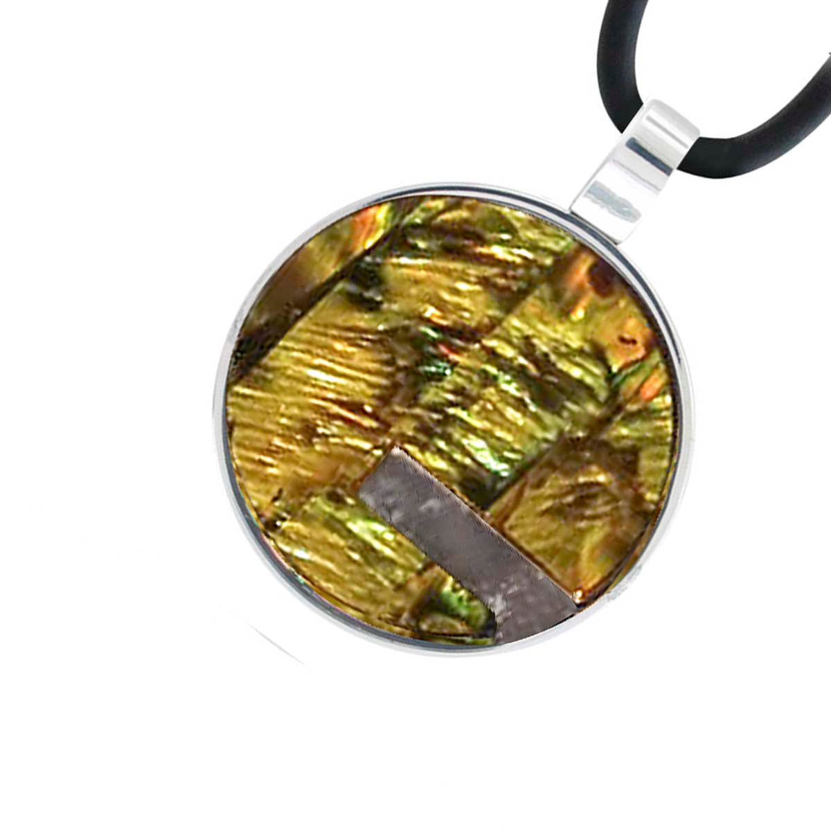 Silver Steel with Multi-Colored Abalone Round Pendant