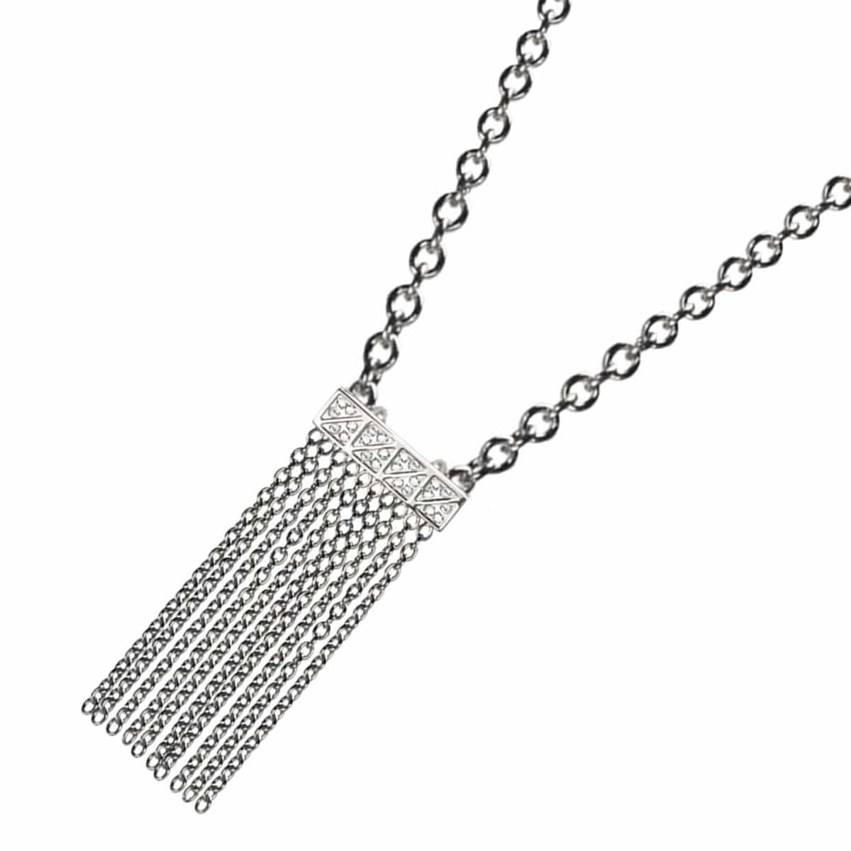 Silver Stainless Steel and CZ Waterfall Pendant