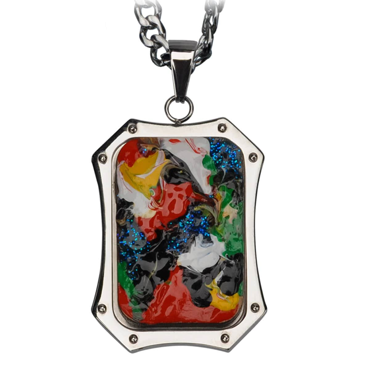 Silver Stainless Steel Roberto Arichi Collection Hand Painted on Wood ID Tag Pendant