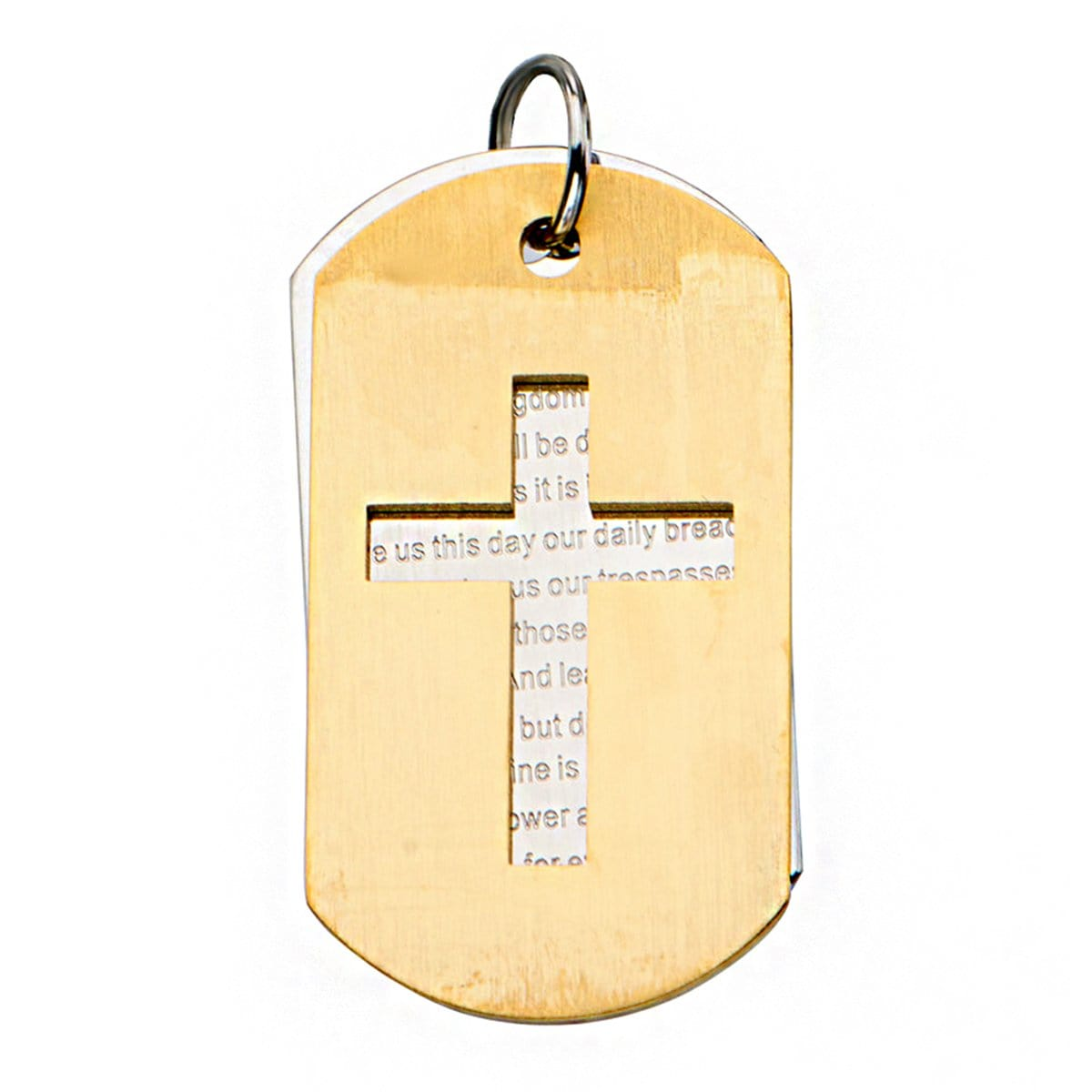 Gold & Silver Stainless Steel Religious Cross with Prayer Double Plate ID Tag