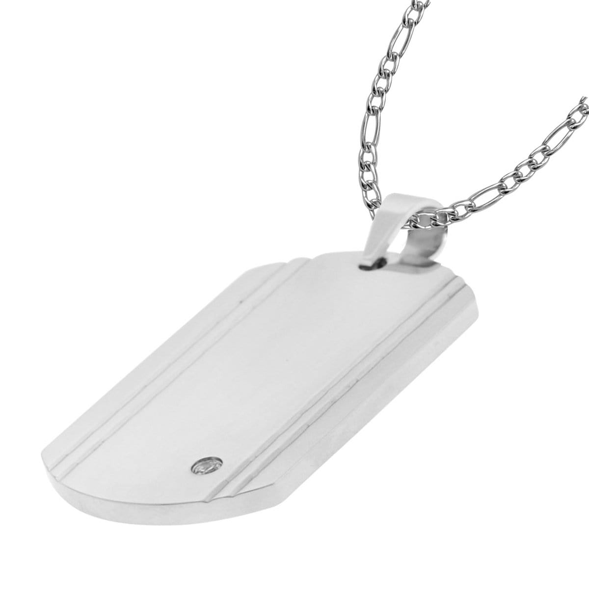 Silver Stainless Steel with CZ Accent Engraveable Dog Tag Pendant