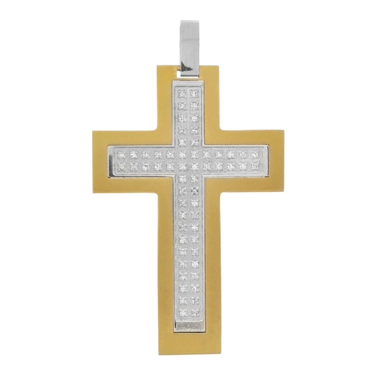 Silver & Gold Stainless Steel with White CZ Religious Bling Cross Pendant