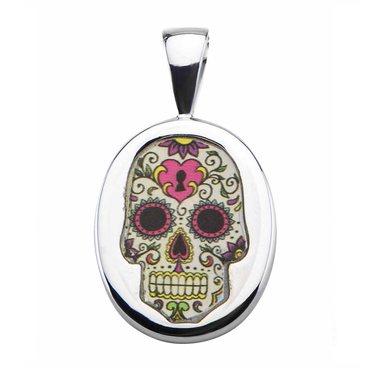 Silver Stainless Steel Colorful Skull with Heart & Key Pendant & Chain