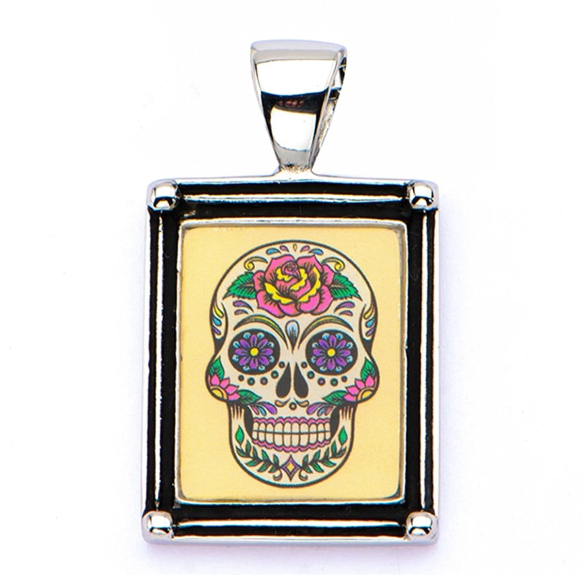 Silver Stainless Steel Colorful Tattooed Skull Frame Pendant & Chain