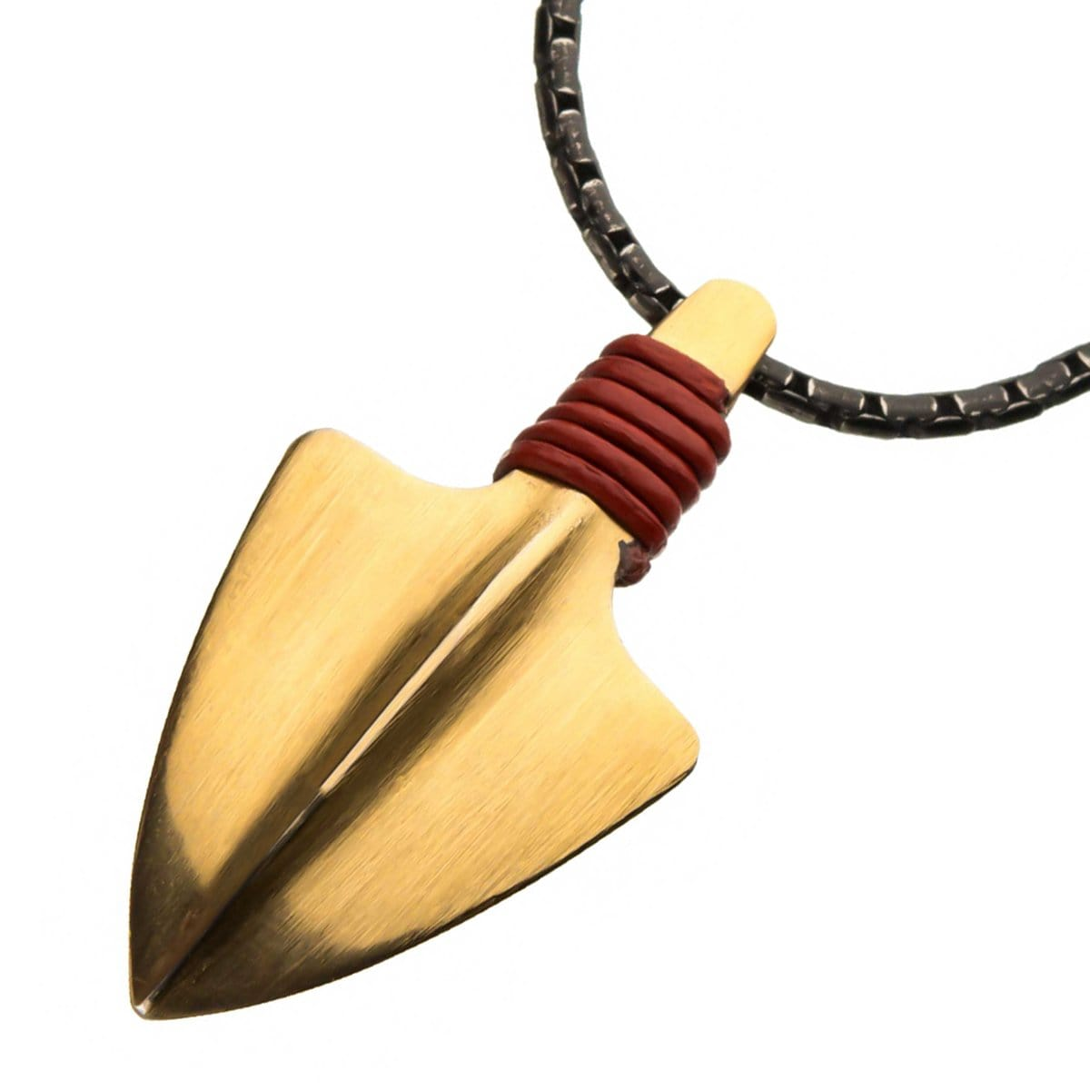Gold Stainless Steel Anitque Finish with Red Leather Cord Arrowhead Pendant
