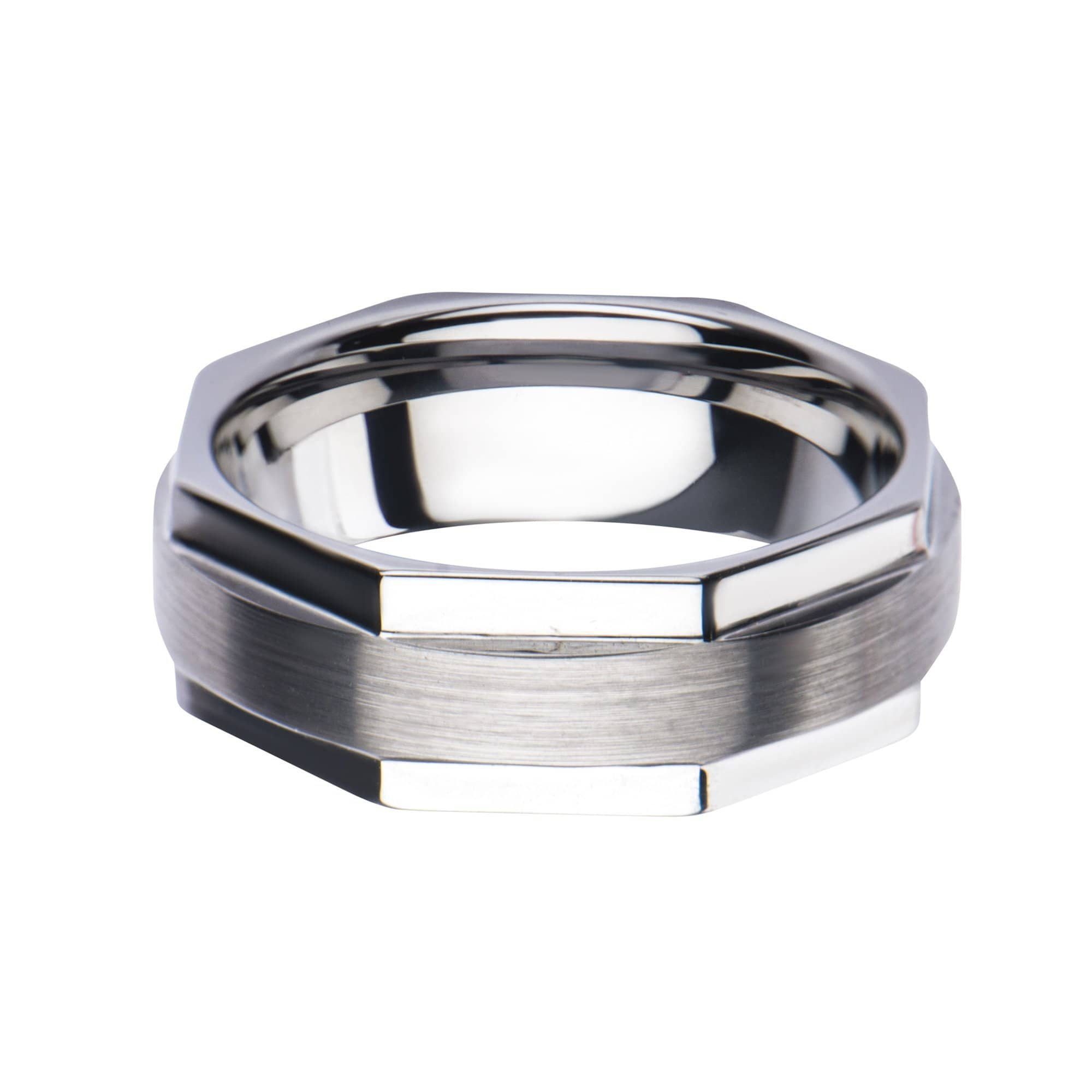 Silver Stainless Steel Octogonal Band Ring