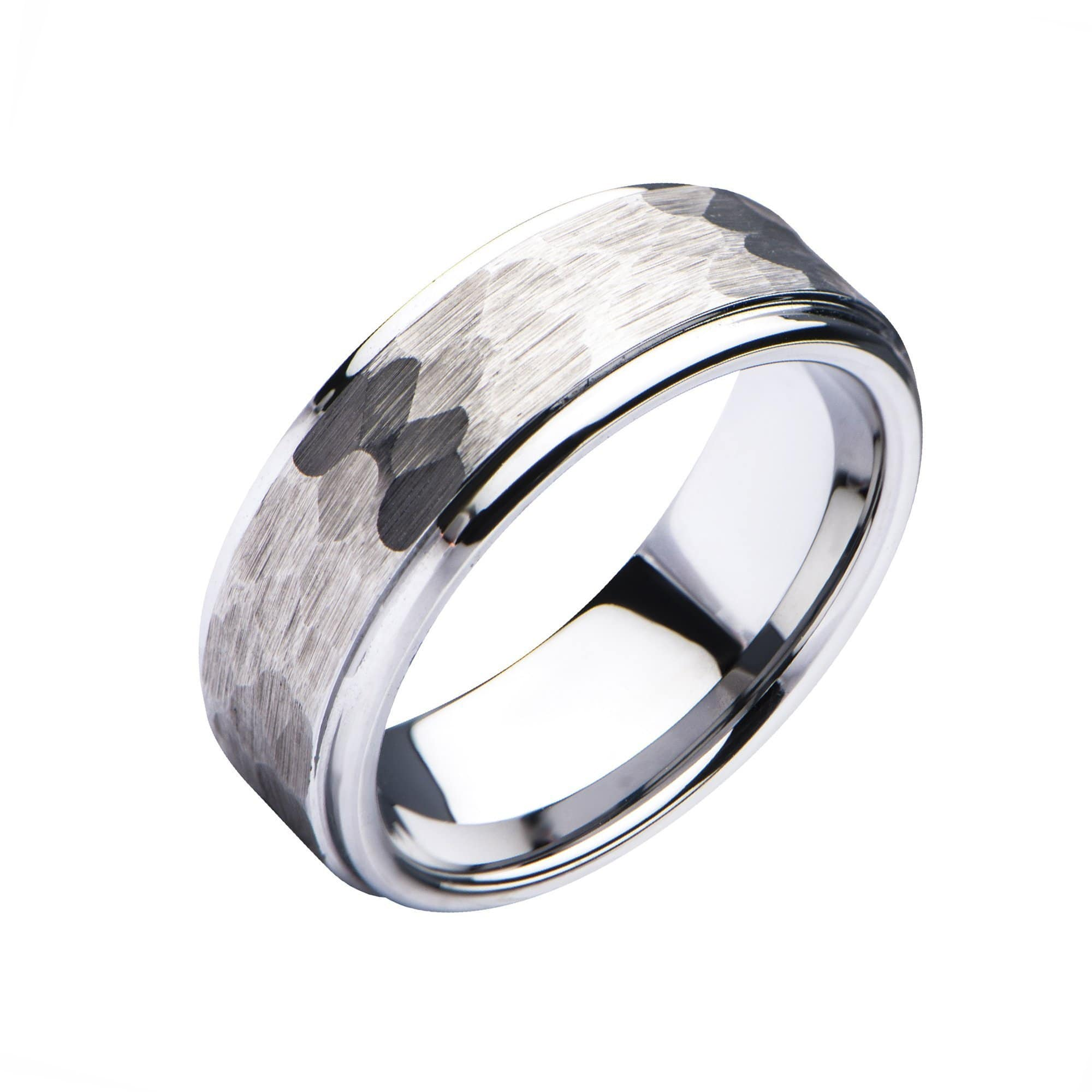 Silver Stainless Steel Hammered Finish Polished Wedding Band Ring