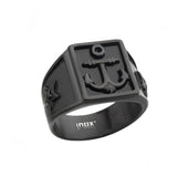 Black Stainless Steel Nautical Anchor Signet Ring