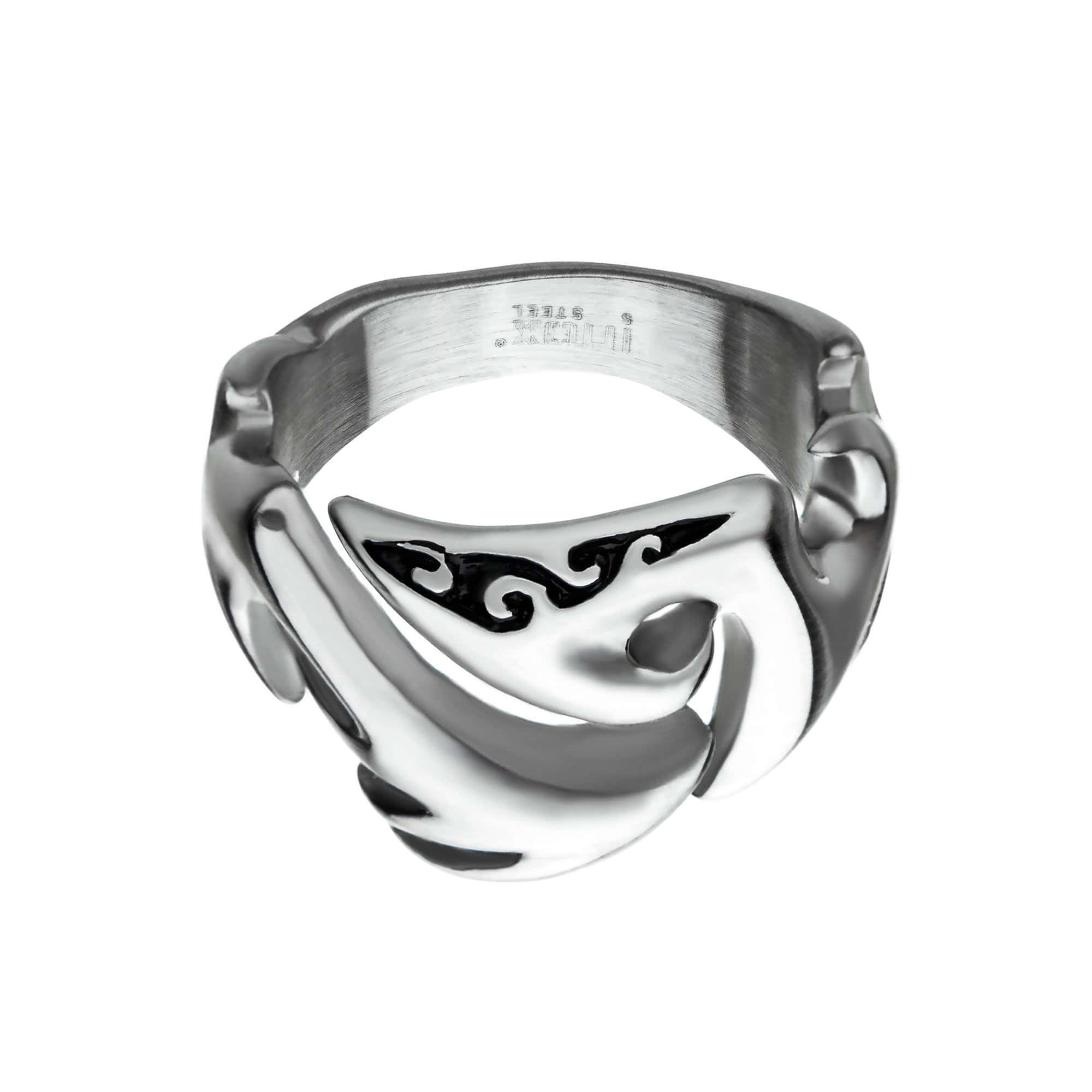 Silver Stainless Steel Surfer's Wave Ring