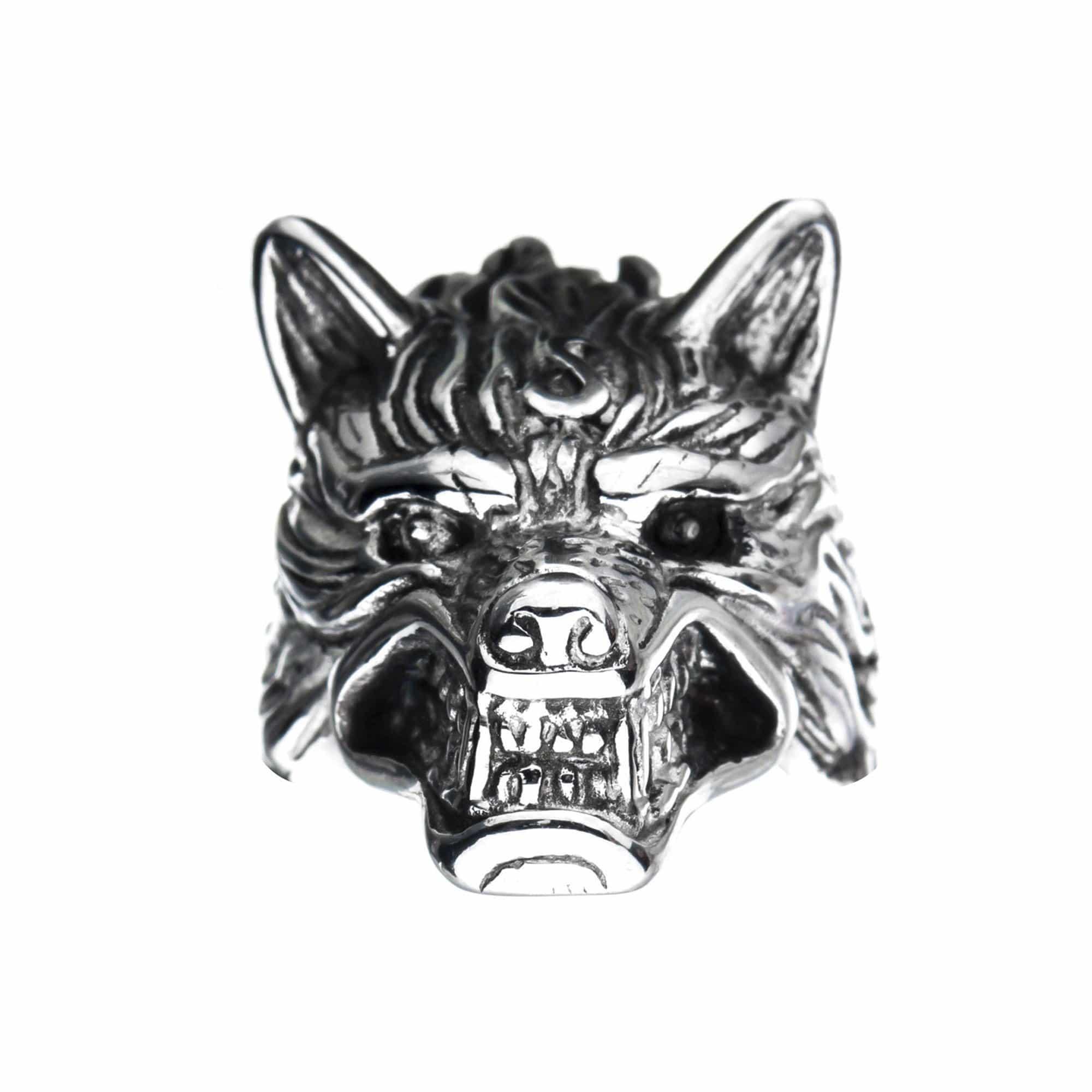 Silver Stainless Steel Angry Wolf Ring