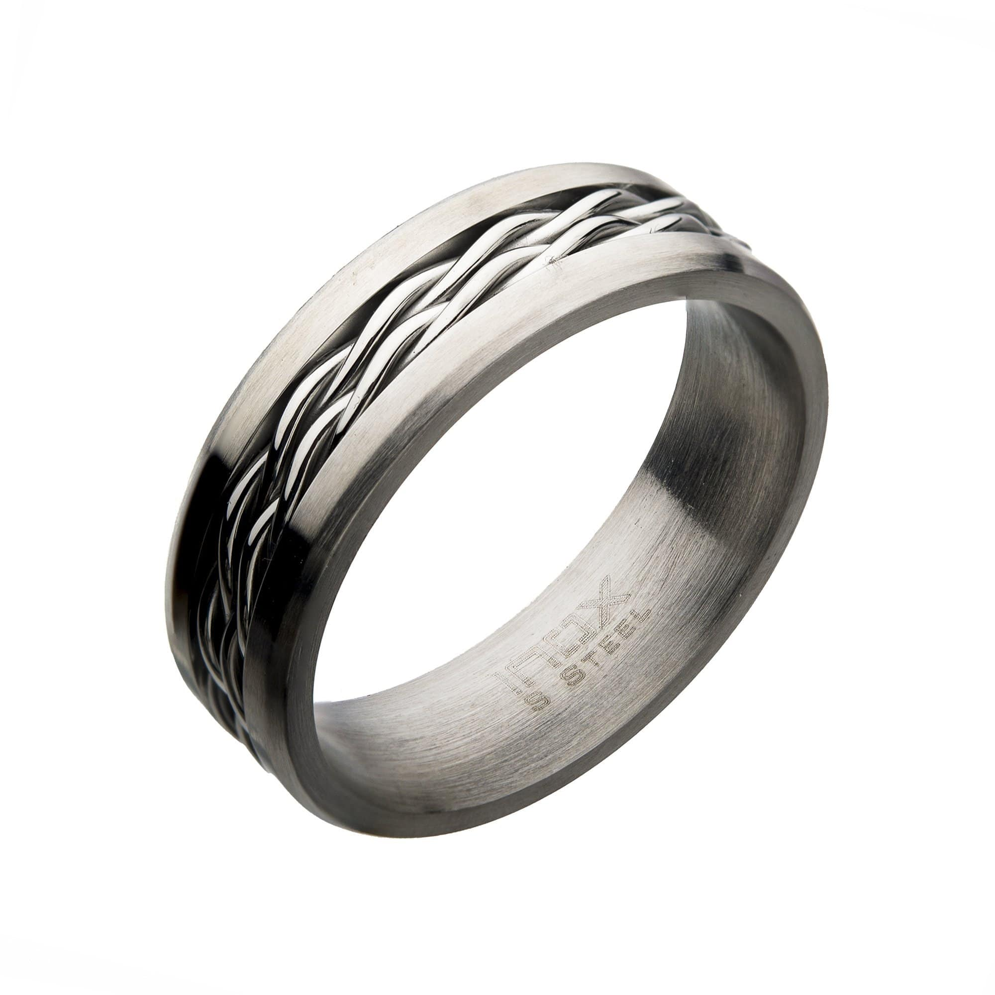 Silver Stainless Steel with Intertwined Cables 7mm Band Ring