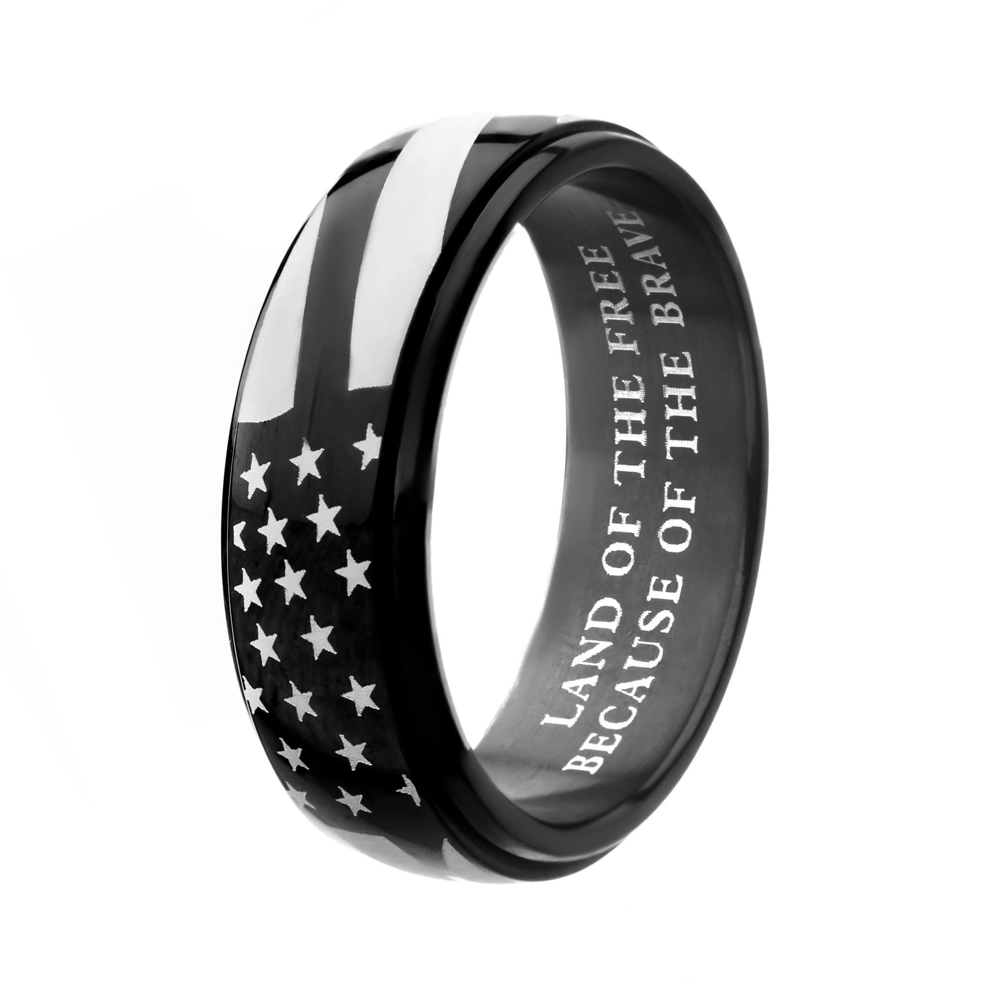 Black & Silver Stainless Steel Stars with Stripes Band Ring