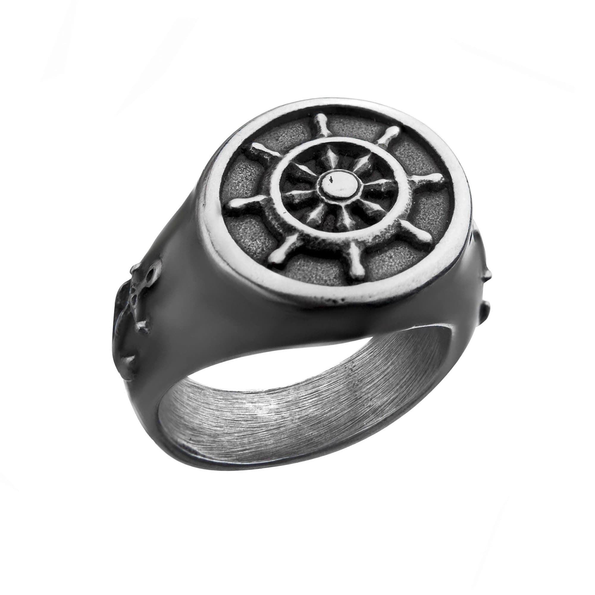 Silver Stainless Steel Oxidized Finish Vintage Anchor & Helm Ring
