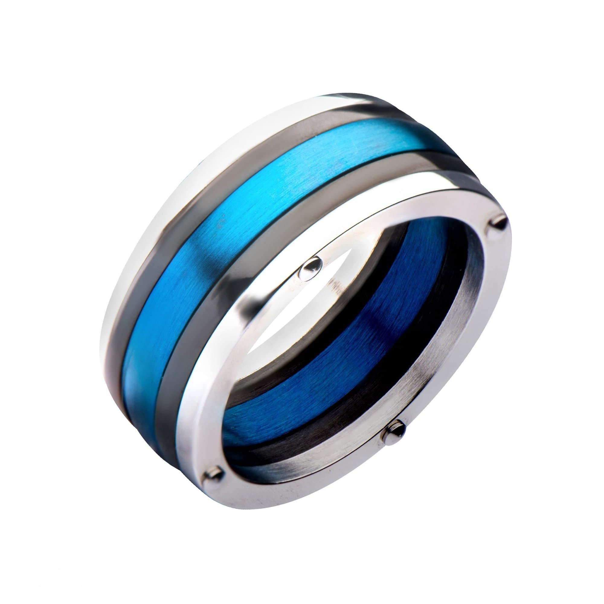 Silver, Blue & Black Stainless Steel Triple Lined Contemporary Band Ring