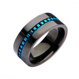 Blue & Black Stainless Steel Interconnected Linked Detail Modern Band Ring