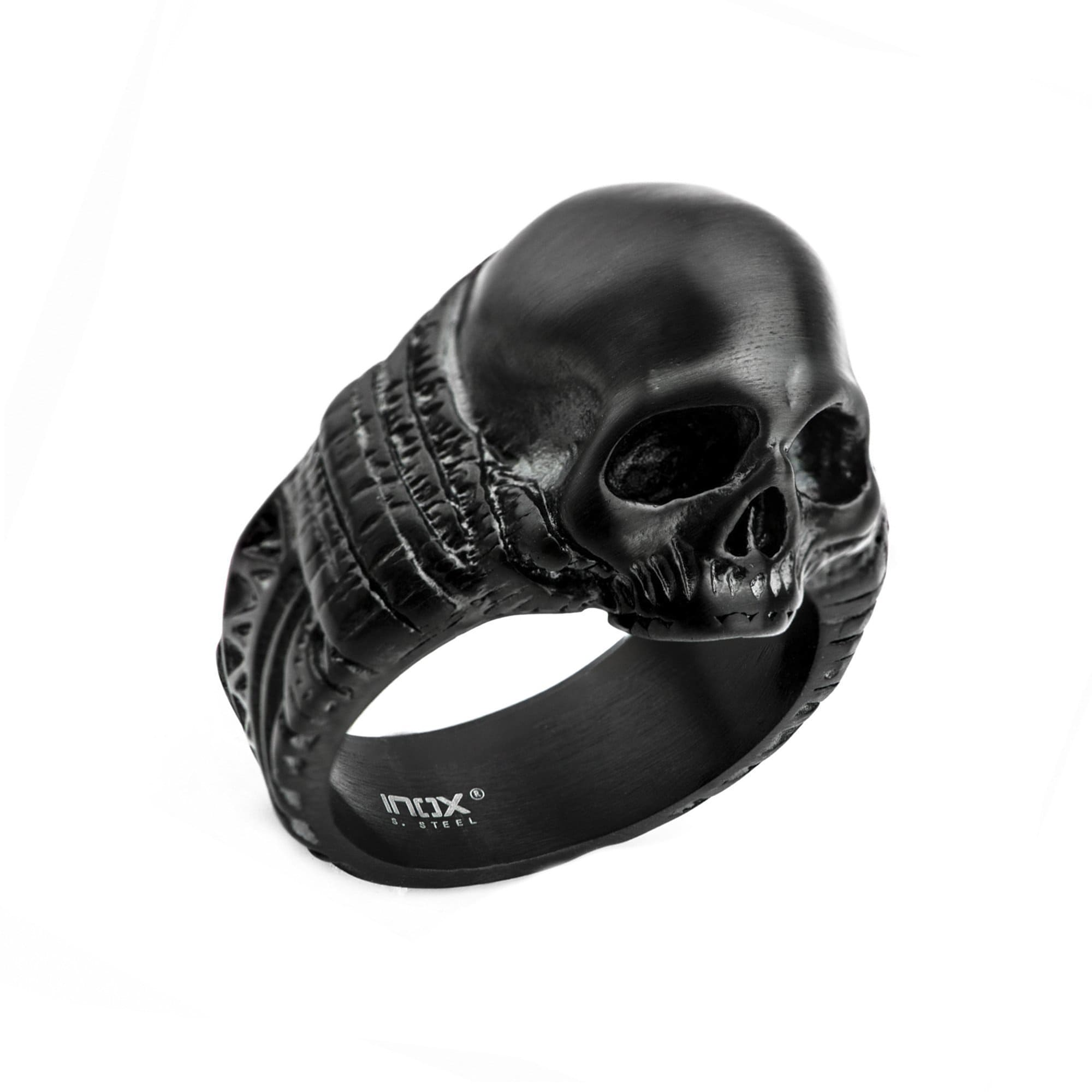 Black Stainless Steel Matte Finish Skull with Ancient Markings Ring