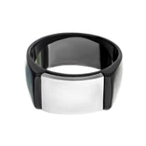 Black & Silver Stainless Steel Matte Finish Engravable Signet Ring