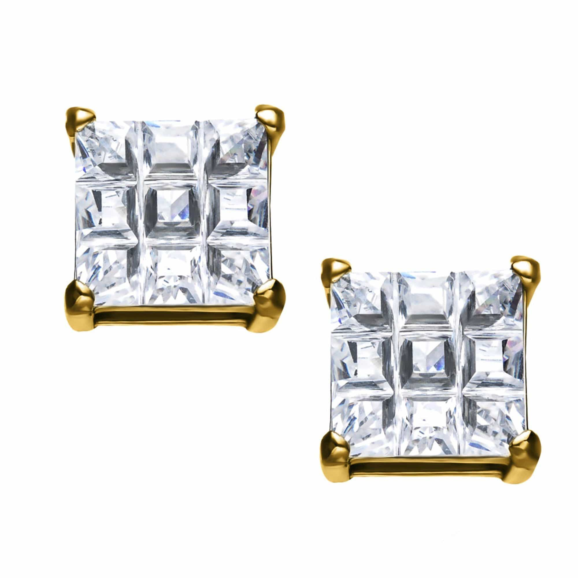 Gold Stainless Steel Invisible Setting Look Square CZ Ear Studs