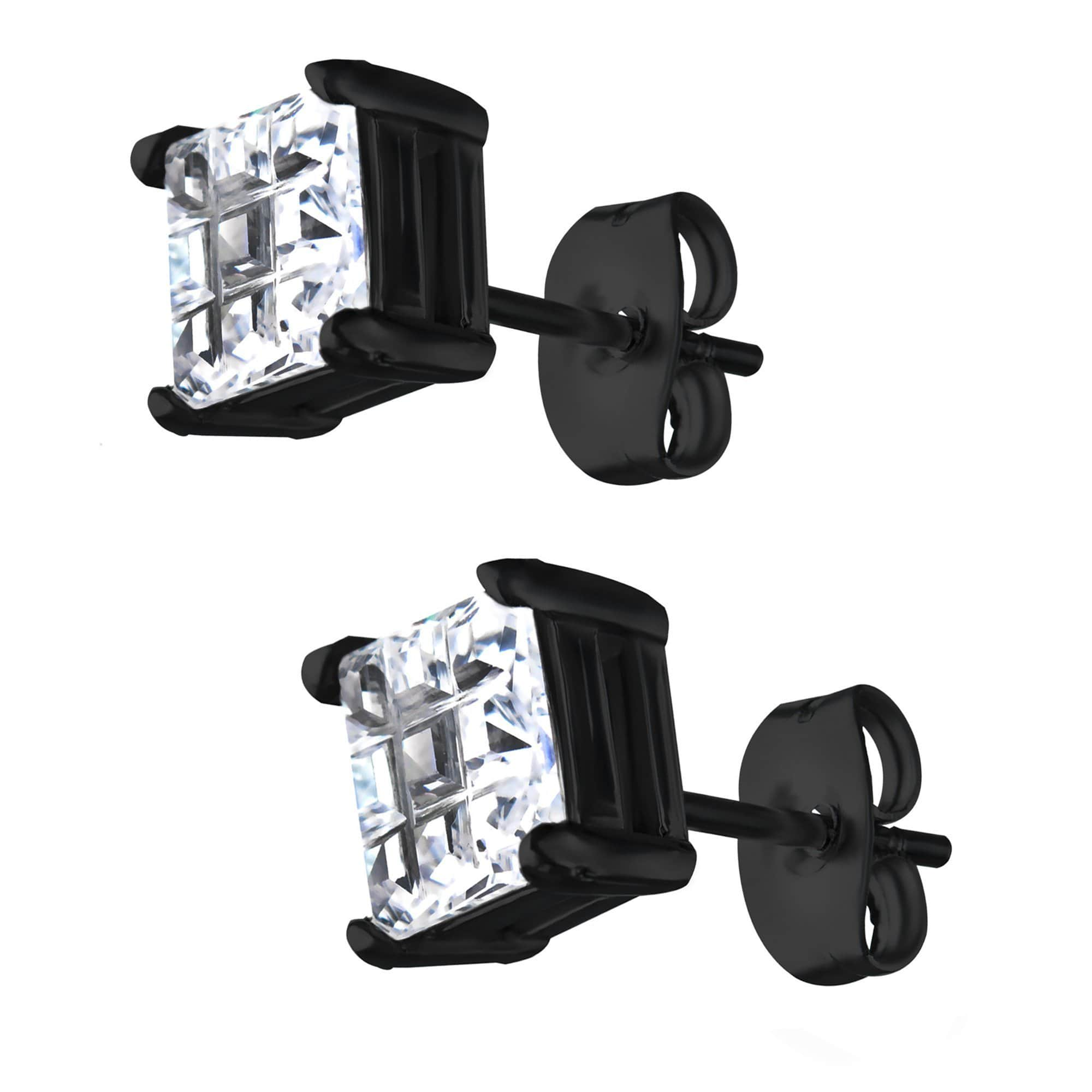 Black Stainless Steel Invisible Setting Look Square CZ Ear Studs