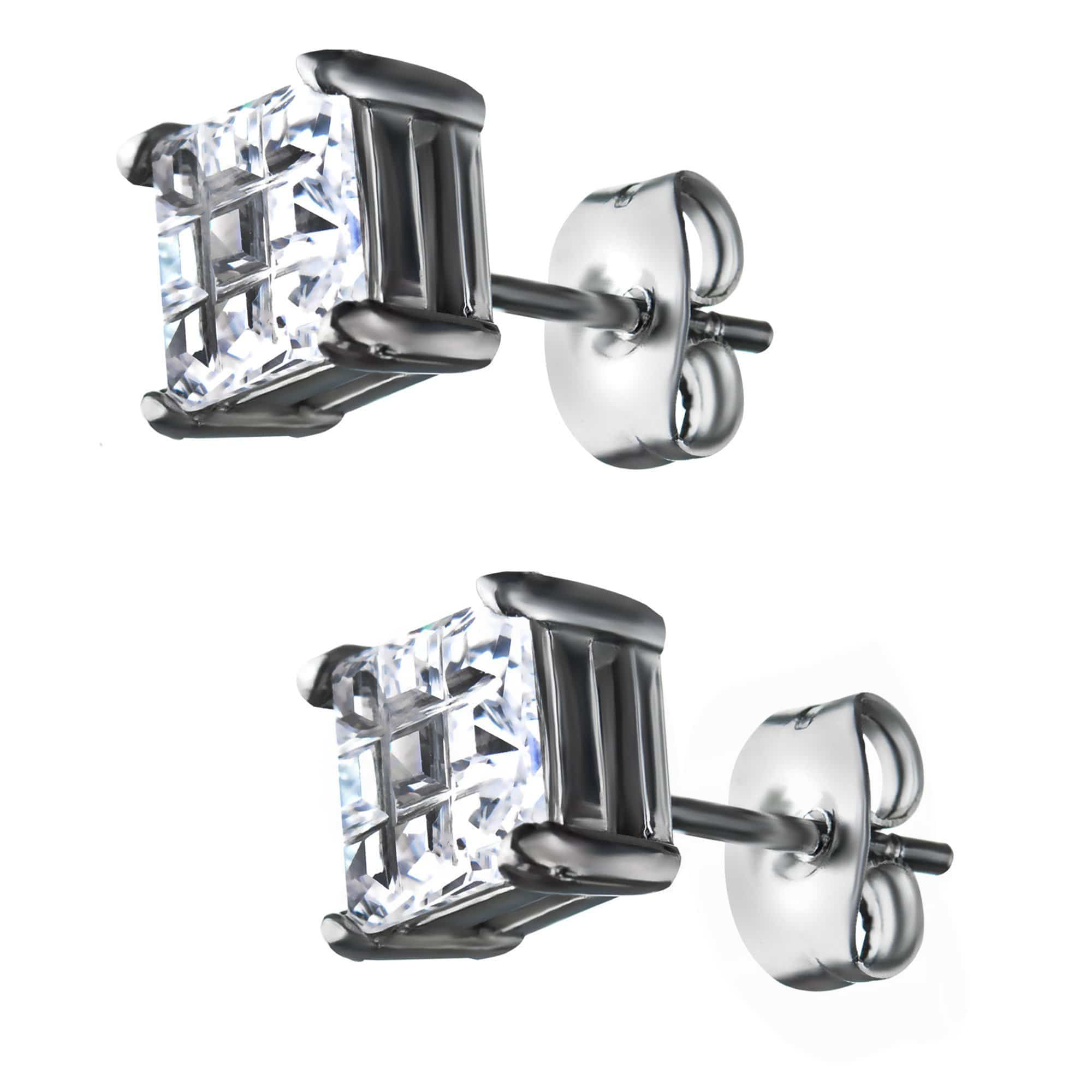 Silver Stainless Steel Invisible Setting Look Square CZ Ear Studs