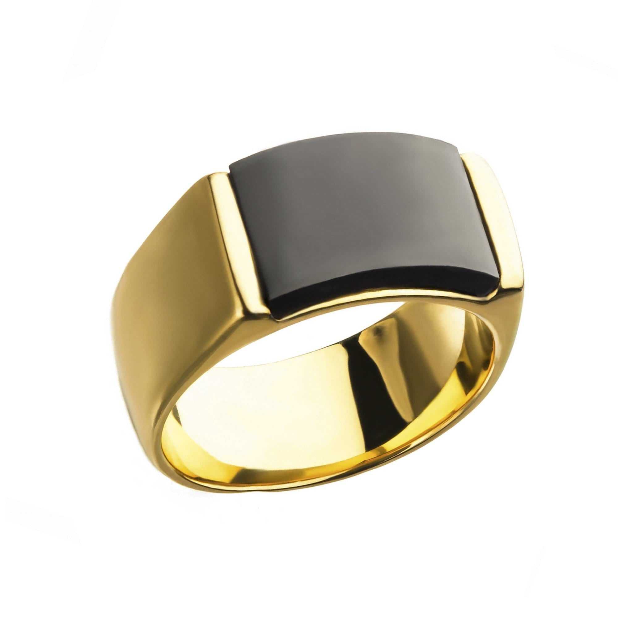 Gold & Black Stainless Steel Matte Finish Engravable Signet Ring