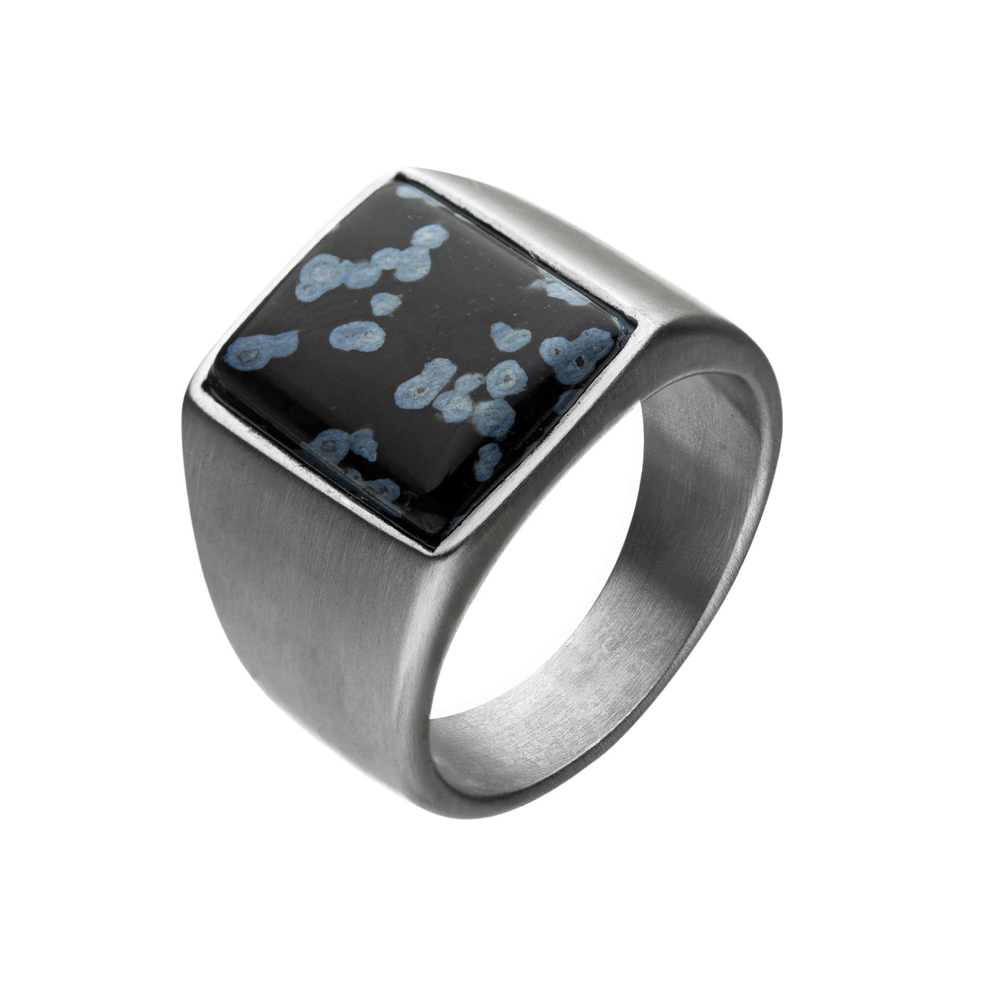Silver Stainless Steel Matte Finish with Polished Snowflake Stone Signet Ring