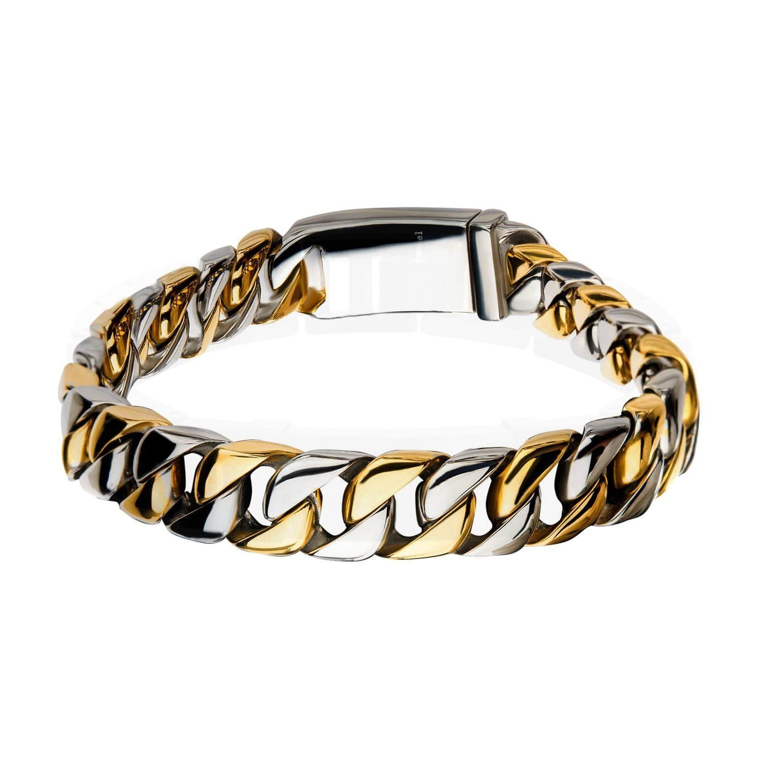 Gold & Silver Stainless Steel Two Tone Curb Chain Bracelet