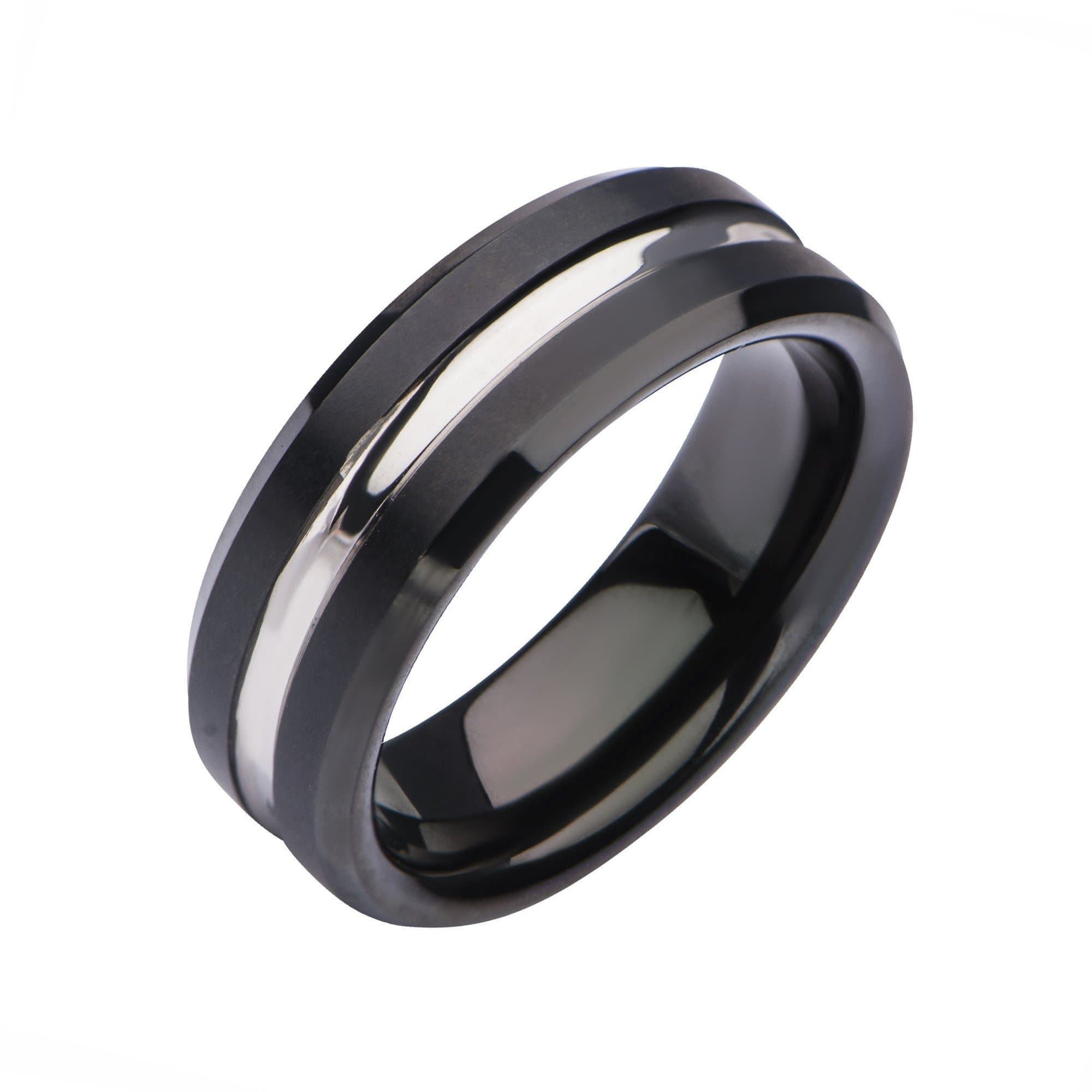 Black & Silver Stainless Steel Modern Clean Line Nero Band Ring