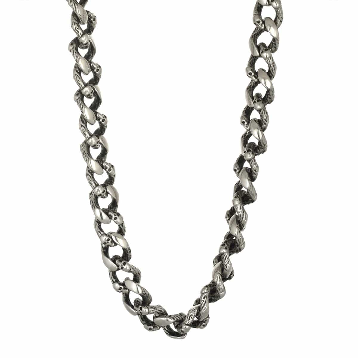 Thick Darkened Silver Stainless Steel Hammered Finish with Skull Design Link Chain Chains