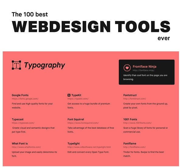 infographic  the 100 best web design tools ever