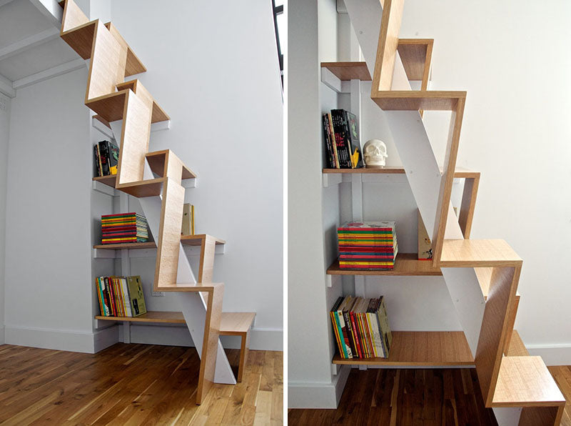 The Stairs Along The Side Wall Of This Apartment Are Thin Enough That They  Hardly Take Up Any Space, But The Space That They Do Take Up Is Made More  ...