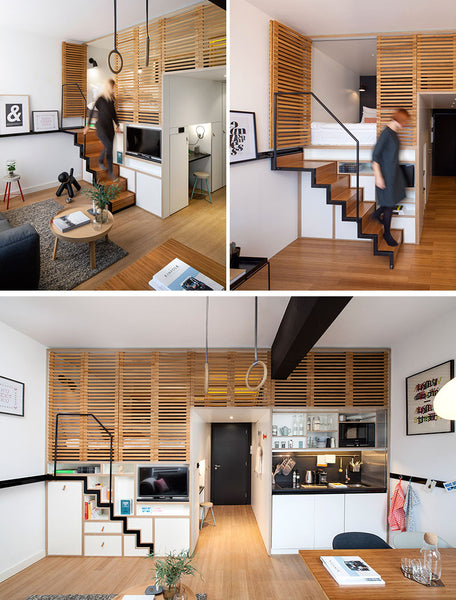 The Staircase Leading To The Loft Bed In This Apartment Also Doubles As  Clothing Storage, Taking Care Of Two Problems With One Staircase.
