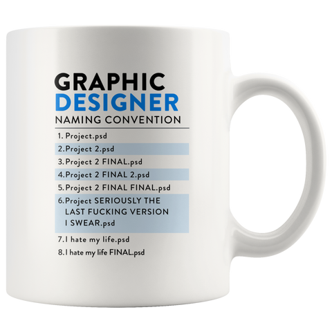 Graphic Designer - Naming Convention Mug - Design Resources