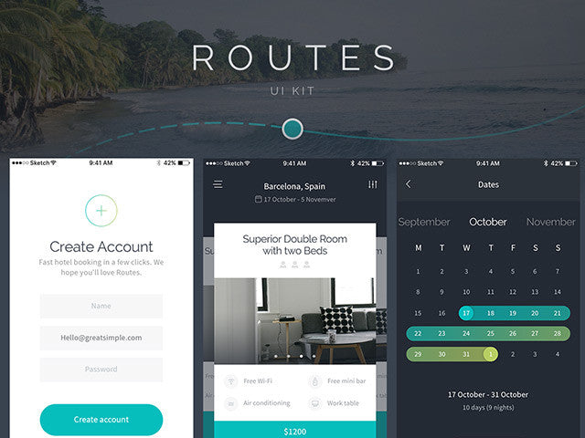 Routes UI kit for iOS – Sample pack