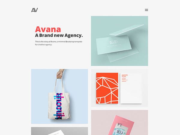 Avana: Minimal portfolio template for agencies - Design Resources
