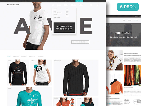 Avenue Fashion: PSD ecommerce template